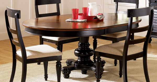 Two Tone Round Table With Upholstered Chairs Dining Room