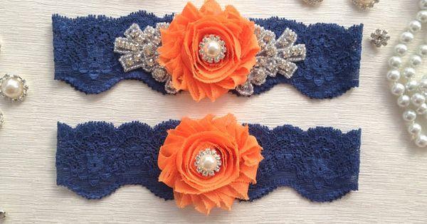 wedding garter set navy blue/orange bridal garter set by venusshop, $24.90, I'd