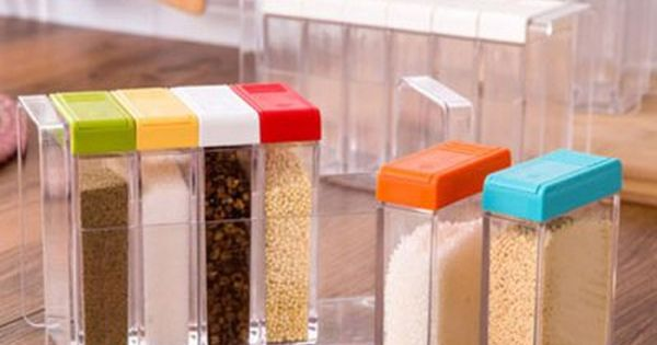 Transparent Plastic 6 Case Seasoning Box Salt Spice Condiment Storage Case Kitchen Tool Spice Jars Cruet Bottles And Jars