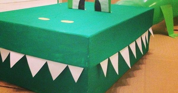 Een opblaaskrokodil enige dat je nodig hebt is een schoenendoos groene verf groene ballon - Verf een ingang en een gang ...