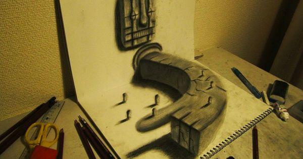 3D Illusion Sketchbook Drawings by Nagai 3d art| http://3dartscollectionsjulius.blogspot.com