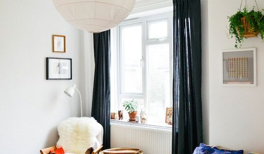 Moody & Modern Windows: Black Curtains small space apt.