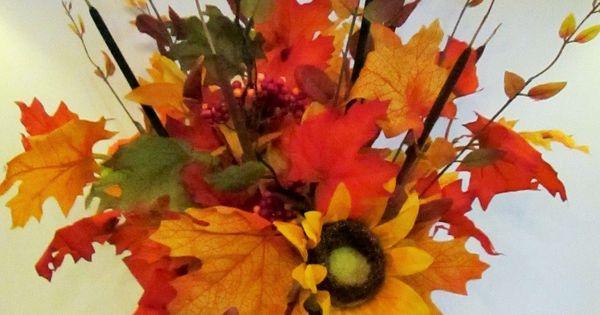 Pumpkin centerpieces maple leaves and pumpkins on pinterest