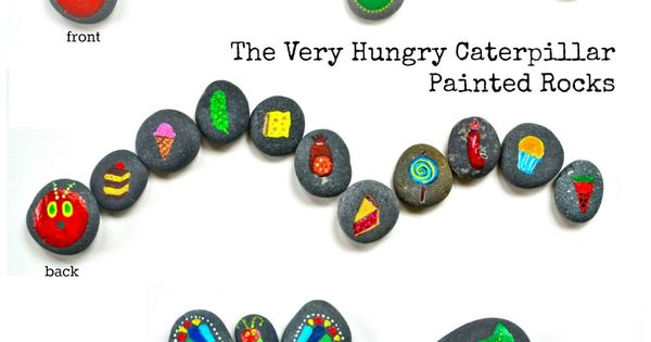 The Very Hungry Caterpillar activity for kids - painted rocks. These gorgeous