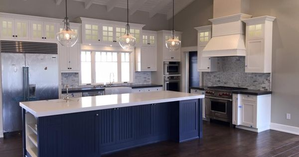 View into kitchen hale navy island home project for Kitchen design 94070