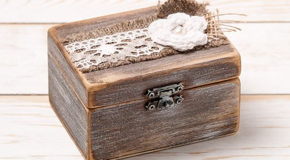 Shabby Chic Pillow Boxes : Ring Box Wedding Ring Holder Ring Pillow Bearer Box with Shabby Chic Rose Rustic Barn Wooden ...