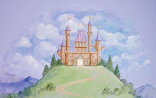 Fairy tale castle mural from poshtots poshtotsnursery for Fairy castle mural