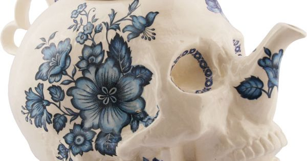 Tea time, time for tea! Trevor Jackson - Skull Teapot in Flowers