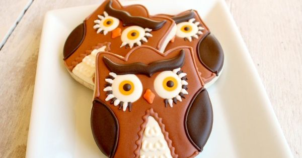 Owl cookies made from a tulip cookie Decorated Cookies| http://decorated-cookies-rylan.blogspot.com