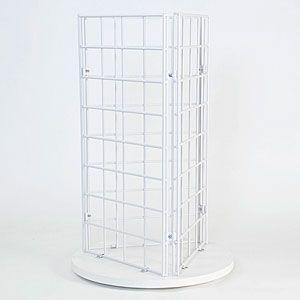 Grid Countertop 3 Sided Spinner Display White Art Display