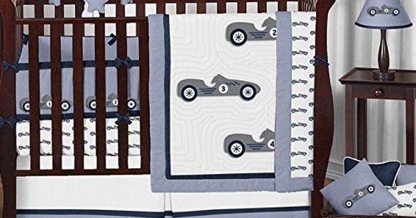 Sweet Jojo Designs Navy Blue Grey And White Vintage Race Car 9 Piece Baby Boy Bedding Crib Set T Baby Boy Bedding Baby Boy Nursery Colors Baby Boy Bedding Sets
