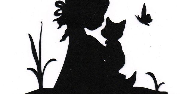 M dchen mit katze scherenschnitte pinterest m dchen for Schattenbilder selber machen