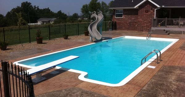 Large Fiberglass Pool With Slide And Diving Board Inground Pools We Have Constructed