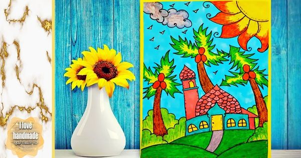 Draw A Beautiful Mosque Next To The Plam Trees رسم مسجد جميل جدا وسط ش Prints Painting Printed Shower Curtain