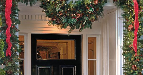 Christmas Greenery & Ribbon Entry I just wish my front door/entrance was
