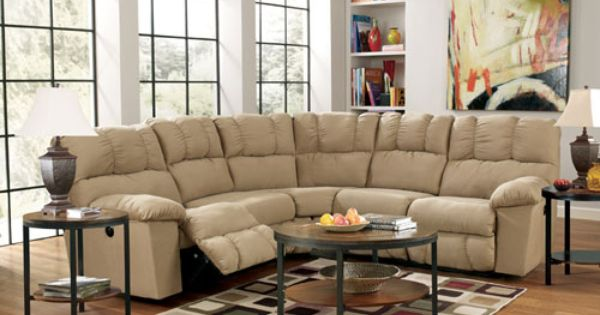 Rent furniture ashley lakesha taupe 2 piece reclining for Albany st germain sectional sofa chaise