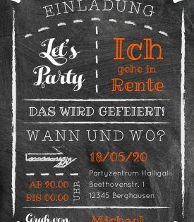 Moderne Einladungskarte Zur Rente Party Mit Schrift Auf Kreidetafel Einladungrentenbeginn Einladungrentnerfeier Einladungen Renteneintritt Einladungskarten