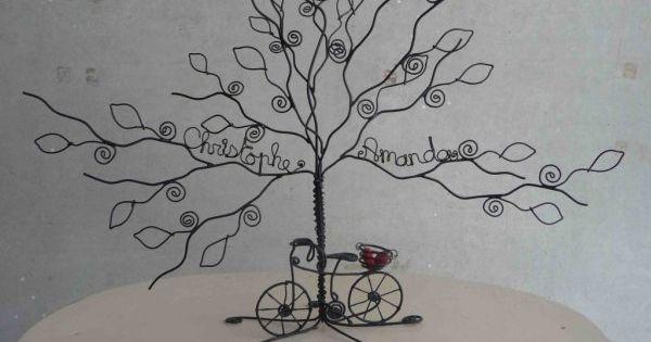 arbre fil de fer avec un velo appuye et 2 prenoms fer pinterest. Black Bedroom Furniture Sets. Home Design Ideas