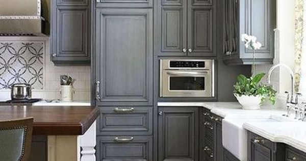 Charcoal Gray Kitchen Cabinets With Calcutta Marble