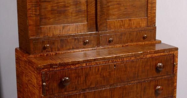 19th C Tiger Maple Secretary Desk Antique Tiger Maple