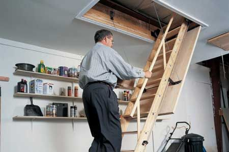 Installing A Sliding Staircase For A Solid Route To Storage Attic Stairs Loft Stairs Diy Stairs