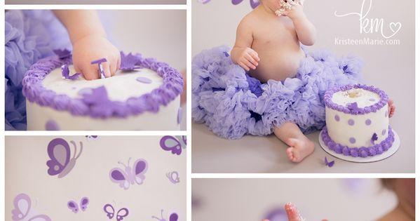 Purple Butterfly Cake Smash – First Birthday