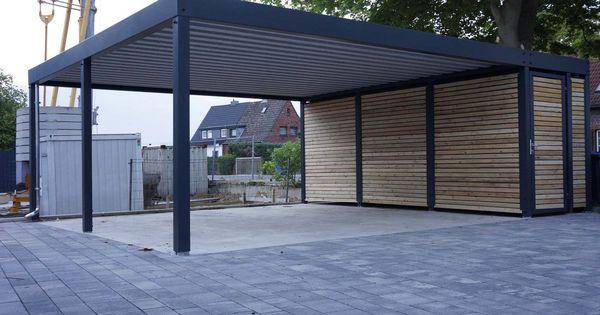 design metall carport aus holz stahl mit abstellraum. Black Bedroom Furniture Sets. Home Design Ideas