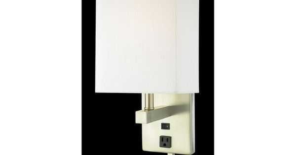 Wall Sconce With Outlet And Switch : Quoizel Lighting MAR271B Plug In Wall Sconce in Brushed Nickel Finish. Outlet. On/Off Rocker ...