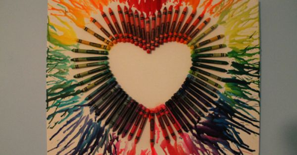 heart shaped melted crayon art
