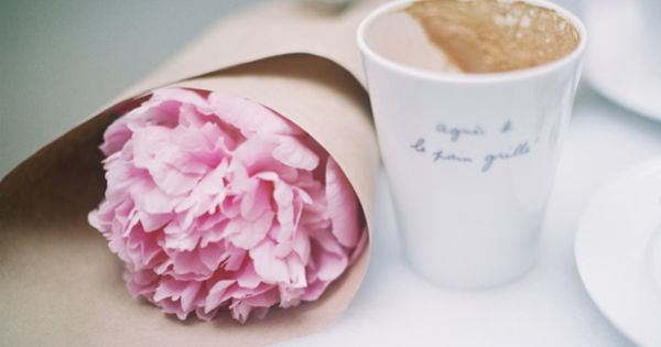 My two favorite things , A pretty pink peony and delicious coffee