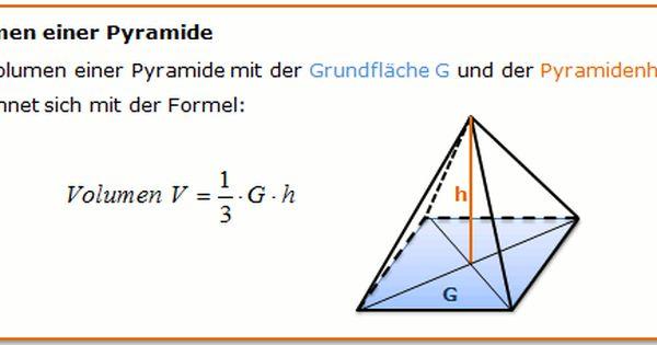 Volumen Einer Pyramide Berechnen Formel Pyramide Spickzettel Mathematik