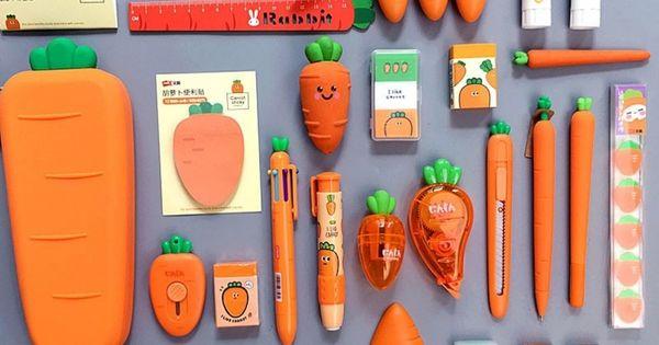 2021 Creative Carrot Series Soft Silicone Pencil Case Stationery Set In 2021 Pencil Case Stationery Stationery Set Kawaii School Supplies