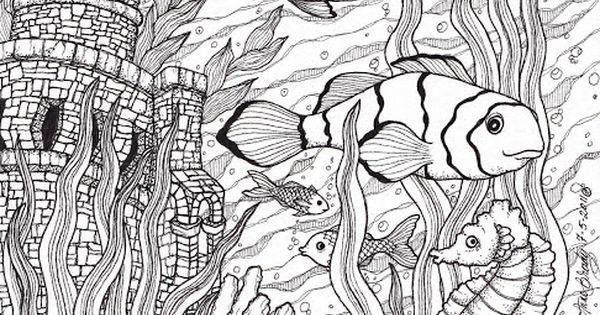 Advanced Ocean Coloring Pages : Fish ocean castle seahorse starfish water coloring pages
