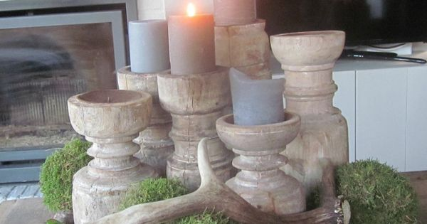 Decoratie kandelaars kaasplank bijzondere decoratie dienbladen pinterest kandelaars - Deco rustieke modern ...