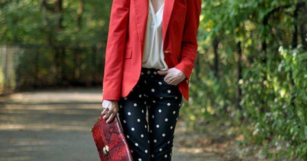 Elegant/Classic Street Style polkadots black skinny skinnyjeans red blazer