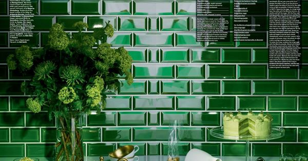 We just LOVE this bold Emerald Beveled Subway Tile How