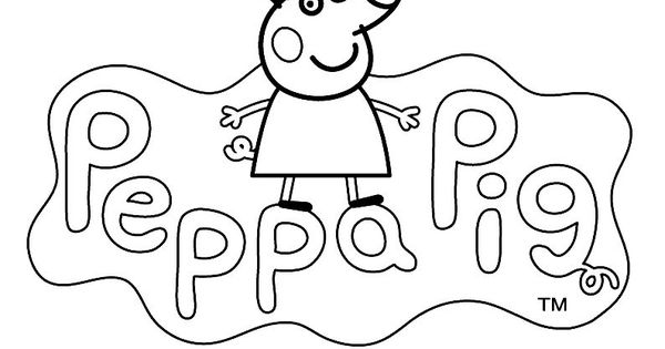 peppa pig coloring pages birthday balloon | LOGO to color PEPPA PIG cartoon - Kids Pages for free ...