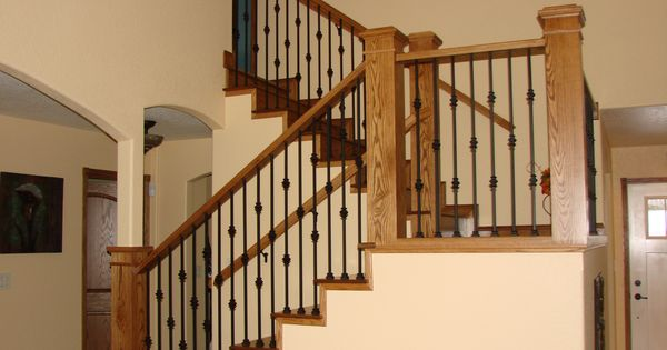 Best Custom Bult Rustic Hickory Newell Posts Metal Ballasters Railing Stairs Porches Decking 400 x 300