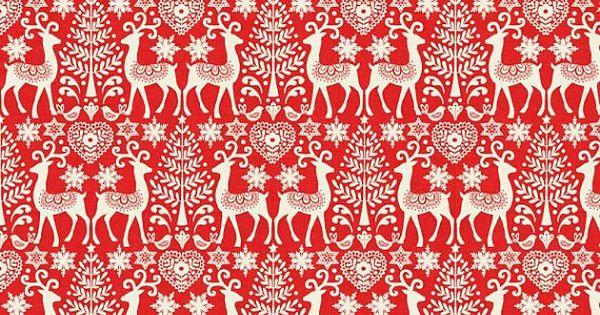 Makower Fabric 100/% Cotton Red Triple Stripe Scandi Christmas 2017