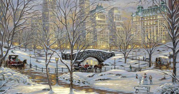 Schnee kunst malerei beleuchtung brücke pferde