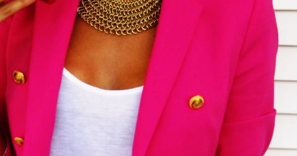 pink blazer with gold buttons