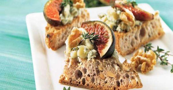 Canap s aux figues et au fromage bleu iga recettes for Canape au fromage
