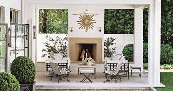 outdoor fireplace/patio/seating terrace balcony garden outdoor, landscaping , outdoor furniture, pergola, wicker,