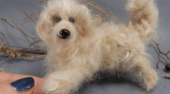 Nadelgefilzter Hund Tibet Terrier Mix Gefilzte Hundereplik Aus