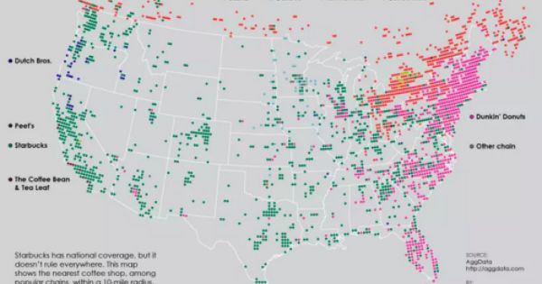 The Map Created By Flowing Data Plots The Nation S Leading Coffee Chains Accessible Within A 10 Mile Radius The East Coast Is Really Pink Which Means It Map