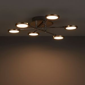 Equium Brushed Chrome Effect 6 Lamp Ceiling Lightwarm White Ceiling Lights Low Ceiling Lighting Flush Ceiling Lights