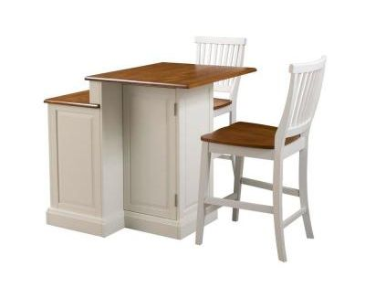 Woodbridge two tier kitchen island in white with oak top and two