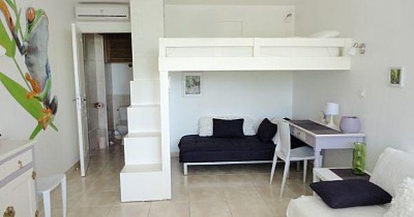 La mezzanine lit 160x200 cm idees deco pinterest jongens opbergdoos en kleine appartementen - Ruimtebesparende mezzanine ...
