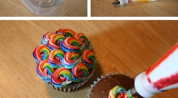 rainbow frosting to go on rainbow cupcakes