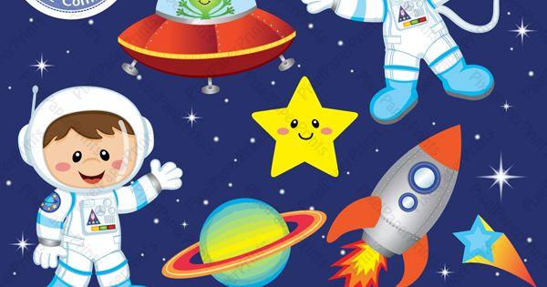 Cohete De Astronauta Y Vintage De Dibujos Animados: Niños Astronautas,cohetes, Nave Espaial